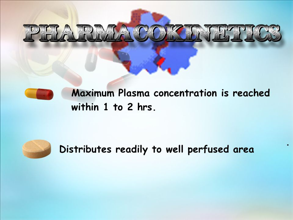 Maximum Plasma concentration is reached within 1 to 2 hrs.