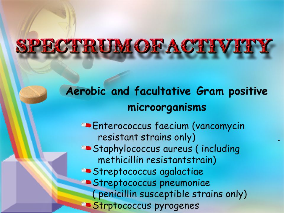 . Aerobic and facultative Gram positive microorganisms Enterococcus faecium (vancomycin resistant strains only) Staphylococcus aureus ( including methicillin resistantstrain) Streptococcus agalactiae Streptococcus pneumoniae ( penicillin susceptible strains only) Strptococcus pyrogenes