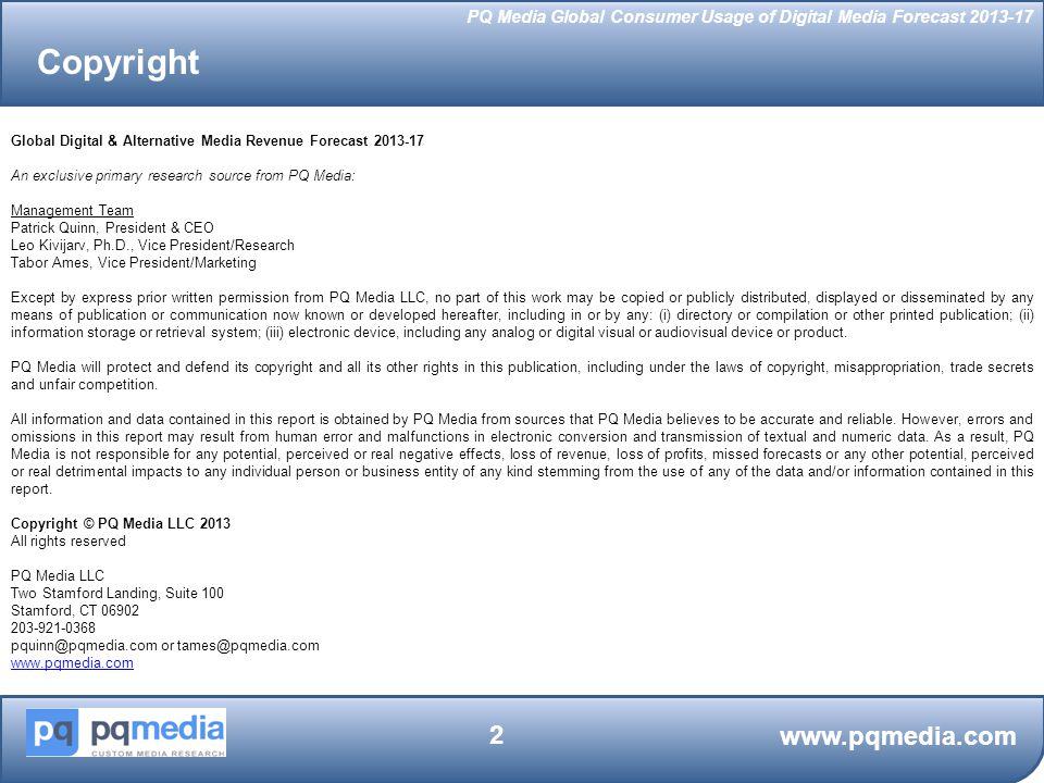 PQ Media Global Consumer Usage of Digital Media Forecast 2013-17 www.pqmedia.com 33 Digital Media Subscriptions: Internet Access