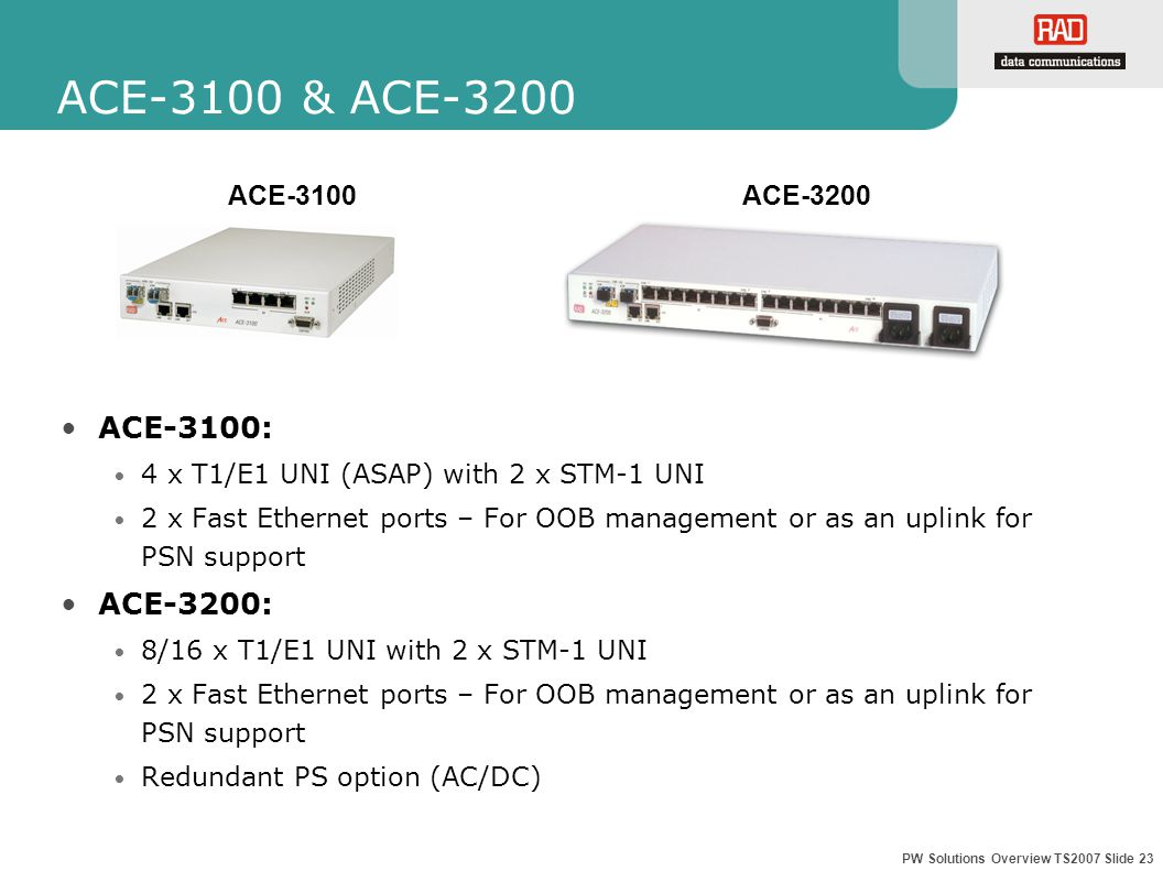 PW Solutions Overview TS2007 Slide 23 ACE-3100 & ACE-3200 ACE-3100: 4 x T1/E1 UNI (ASAP) with 2 x STM-1 UNI 2 x Fast Ethernet ports – For OOB management or as an uplink for PSN support ACE-3200: 8/16 x T1/E1 UNI with 2 x STM-1 UNI 2 x Fast Ethernet ports – For OOB management or as an uplink for PSN support Redundant PS option (AC/DC) ACE-3100 ACE-3200