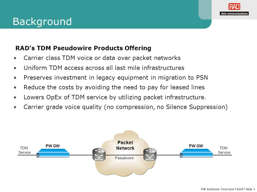 PW Solutions Overview TS2007 Slide 3 Background RAD's TDM Pseudowire Products Offering Carrier class TDM voice or data over packet networks Uniform TDM access across all last mile infrastructures Preserves investment in legacy equipment in migration to PSN Reduce the costs by avoiding the need to pay for leased lines Lowers OpEx of TDM service by utilizing packet infrastructure.