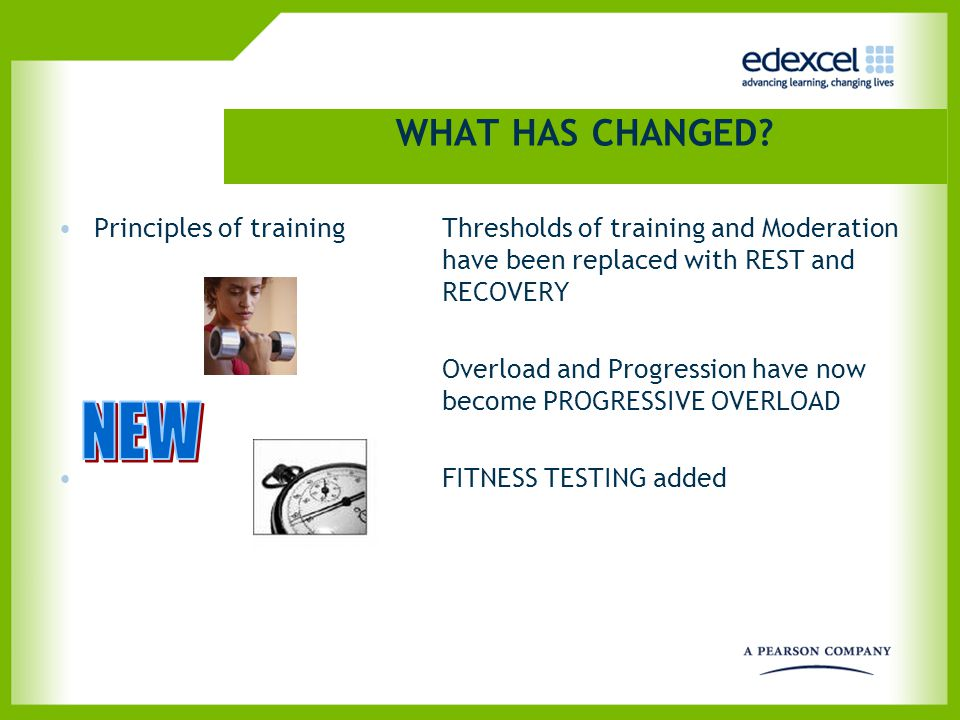 WHAT HAS CHANGED? Principles of training Thresholds of training and Moderation have been replaced with REST and RECOVERY Overload and Progression have
