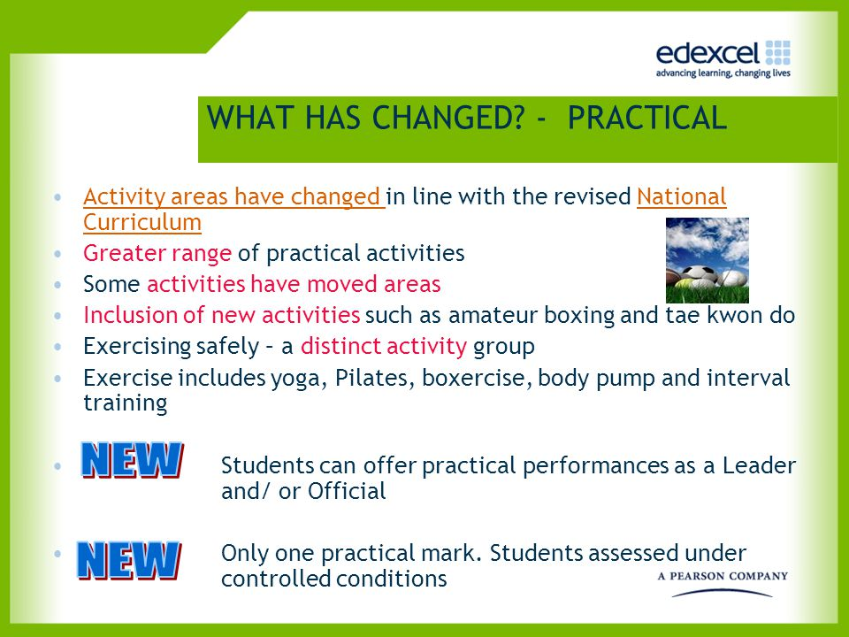 WHAT HAS CHANGED? - PRACTICAL Activity areas have changed in line with the revised National CurriculumActivity areas have changed National Curriculum