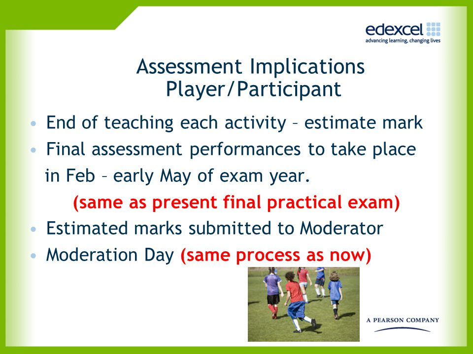 Assessment Implications Player/Participant End of teaching each activity – estimate mark Final assessment performances to take place in Feb – early Ma