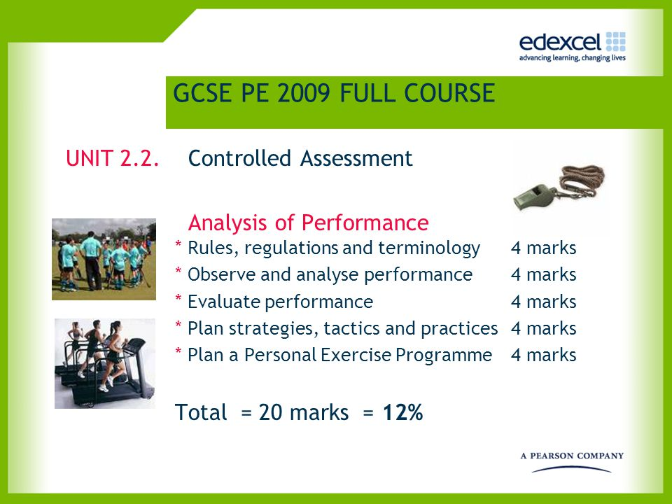 Controlled Assessment – Analysis of Performance Task setting Components 1-4Possible Formats Component 5 Rules and regulations Observe and analyse Evaluation Plan for improvement Question and Answer Session A written Report A presentation Personal Exercise Programme Written Format