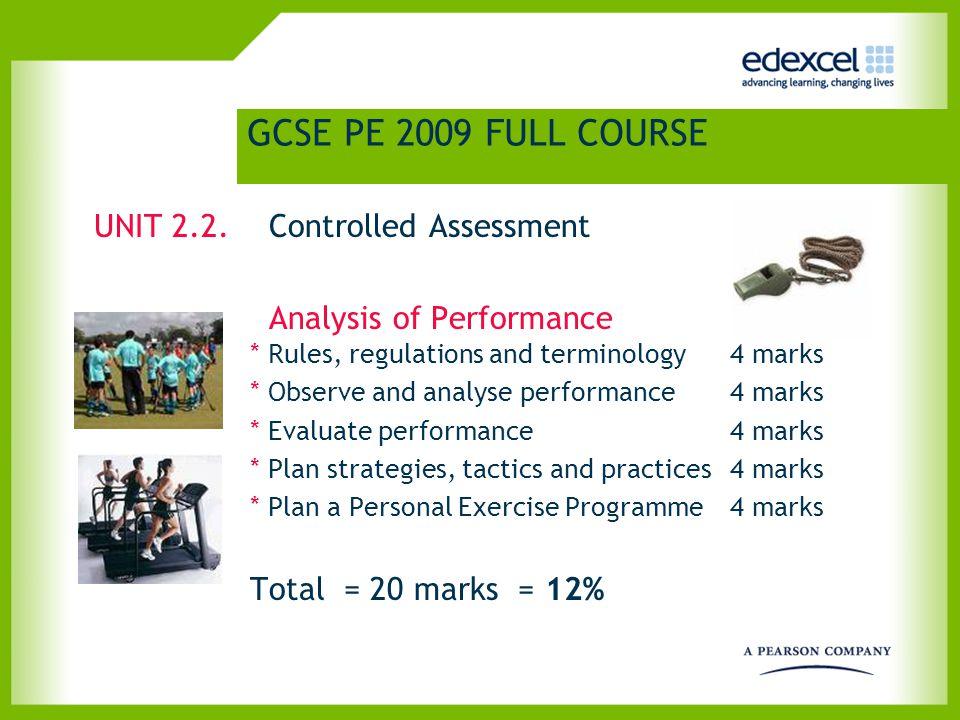 GCSE PE 2009 SHORT COURSE OVERVIEW GCSE PE 2009 SHORT COURSE UNIT 1 Theory of PE 1 x 40 40% UNIT 2.1 Practical Activities 2 x 10 48% UNIT 2.2 Analysis of Performance 1 x 20 12%