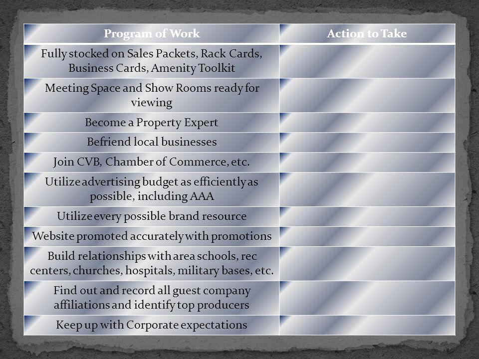 Program of WorkAction to Take Fully stocked on Sales Packets, Rack Cards, Business Cards, Amenity Toolkit Meeting Space and Show Rooms ready for viewing Become a Property Expert Befriend local businesses Join CVB, Chamber of Commerce, etc.