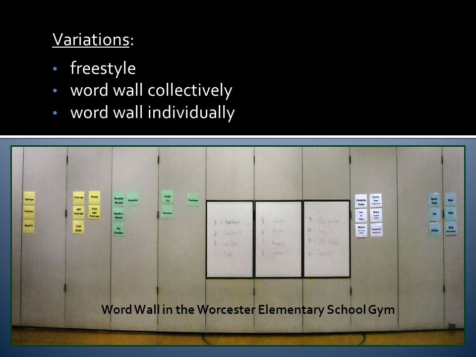 Variations: freestyle word wall collectively word wall individually Word Wall in the Worcester Elementary School Gym
