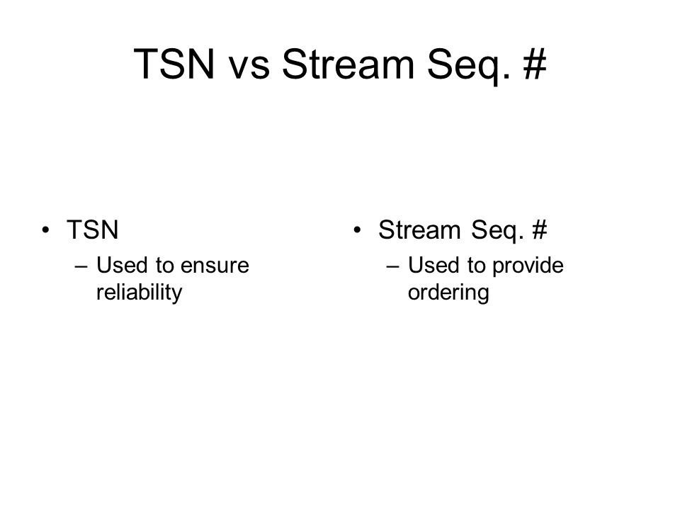 TSN vs Stream Seq. # TSN –Used to ensure reliability Stream Seq. # –Used to provide ordering