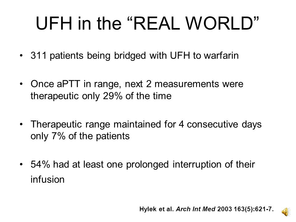 LMWH vs. UFH in treatment of PE – symptomatic VTE at end of treatment Quinlan Ann Int Med 2004