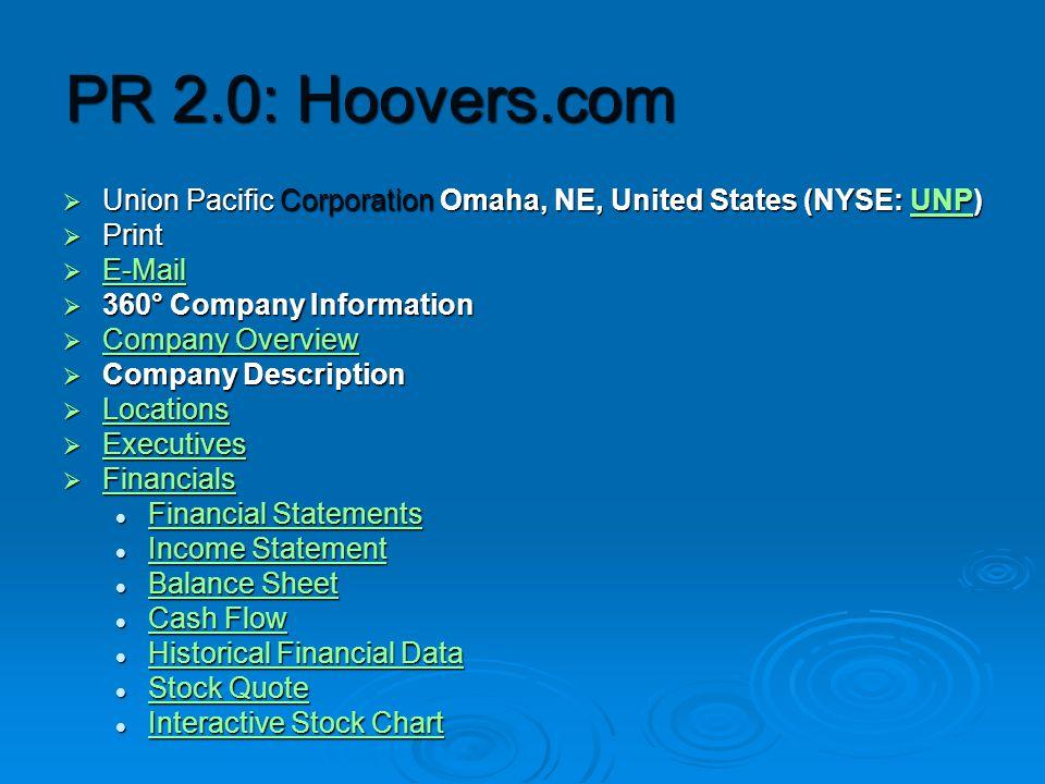 PR 2.0: Hoovers.com  Union Pacific Corporation Omaha, NE, United States (NYSE: UNP) UNP  Print  E-Mail E-Mail  360° Company Information  Company