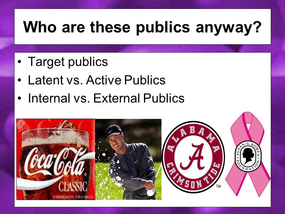 Target publics Latent vs. Active Publics Internal vs.