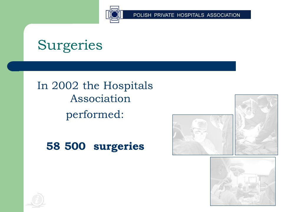Surgeries In 2002 the Hospitals Association performed: 58 500 surgeries