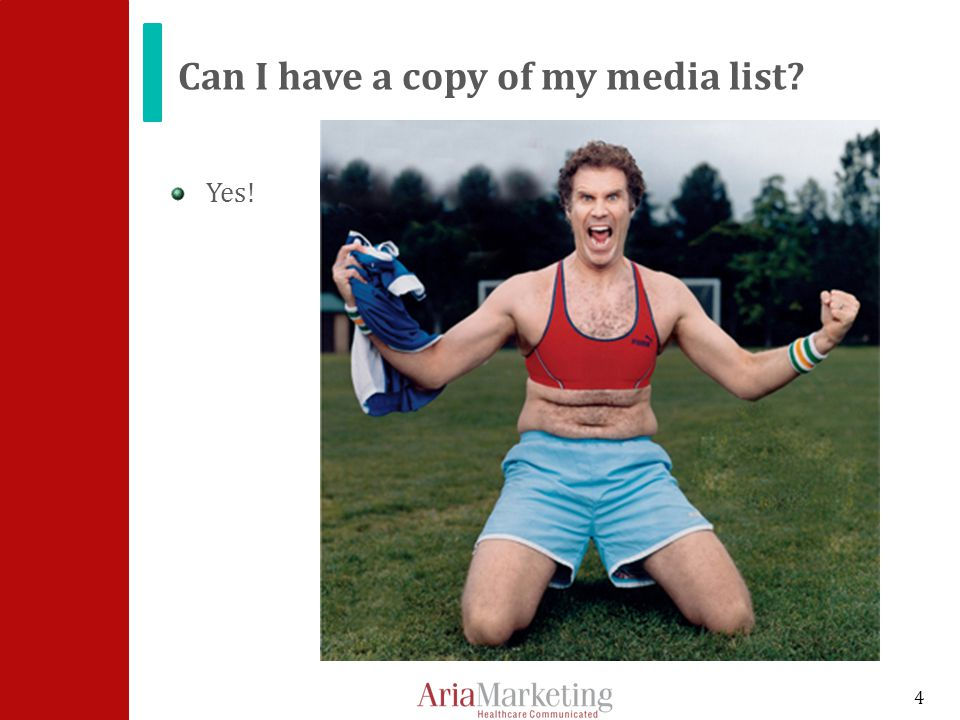 Can I have a copy of my media list Yes! 4