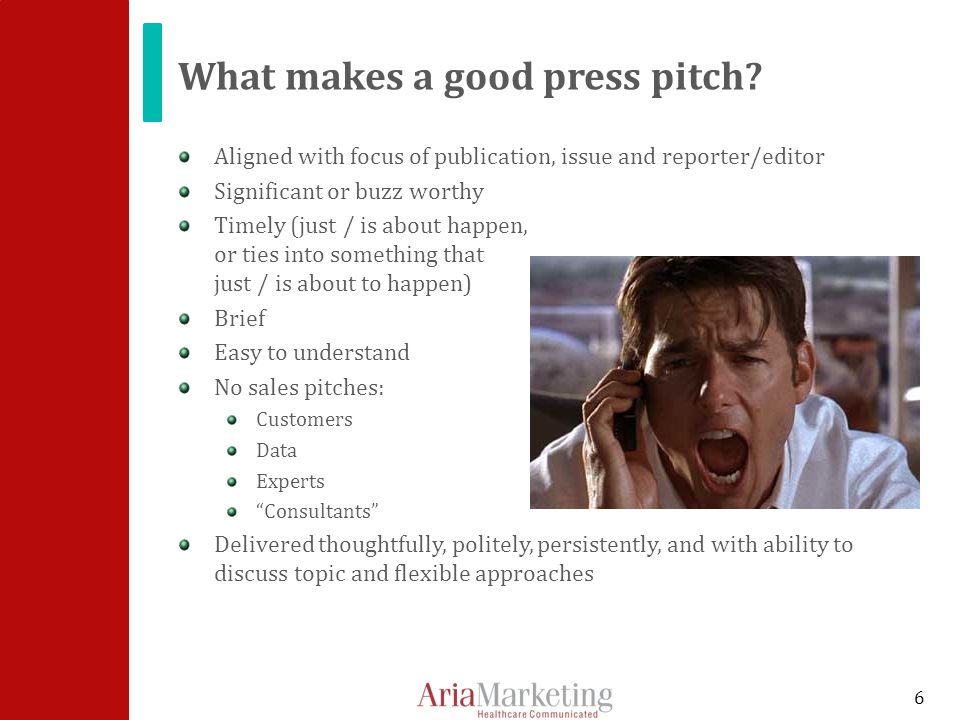 What makes a good press pitch.