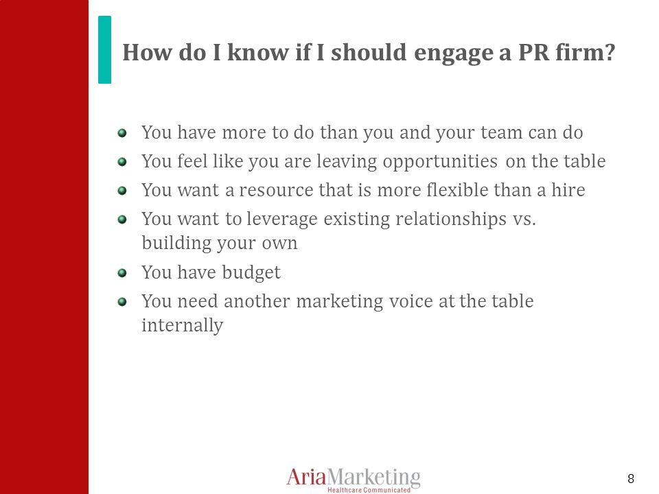 How do I know if I should engage a PR firm.
