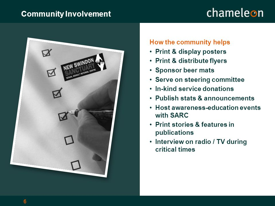 6 Community Involvement How the community helps Print & display posters Print & distribute flyers Sponsor beer mats Serve on steering committee In-kind service donations Publish stats & announcements Host awareness-education events with SARC Print stories & features in publications Interview on radio / TV during critical times