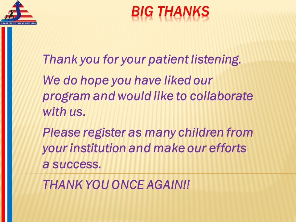 Thank you for your patient listening.
