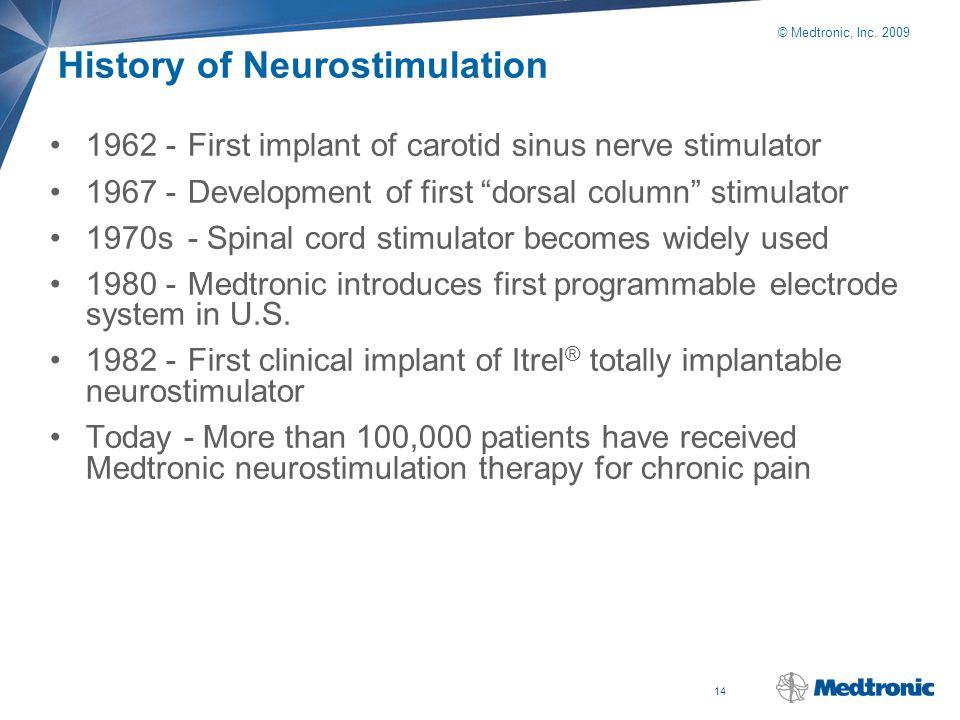 "14 © Medtronic, Inc. 2009 History of Neurostimulation 1962 -First implant of carotid sinus nerve stimulator 1967 -Development of first ""dorsal column"""