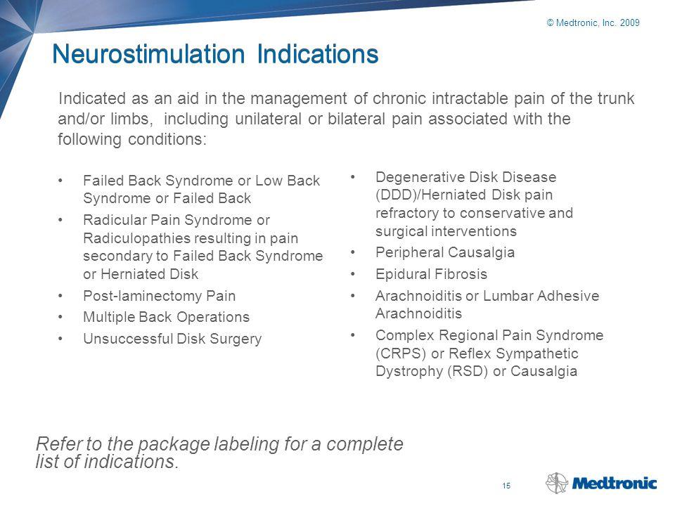 15 © Medtronic, Inc. 2009 Neurostimulation Indications Failed Back Syndrome or Low Back Syndrome or Failed Back Radicular Pain Syndrome or Radiculopat