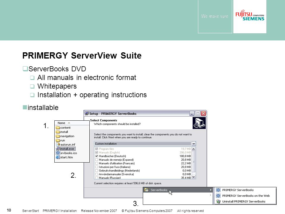 ServerStart PRIMERGY Installation Release November 2007 © Fujitsu Siemens Computers 2007 All rights reserved 10 1. 3. 2.  ServerBooks DVD  All manua