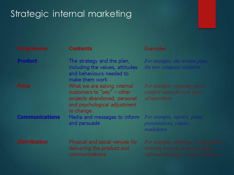 Strategic internal marketing Programme Product Price Communications Distribution Contents The strategy and the plan, including the values, attitudes a