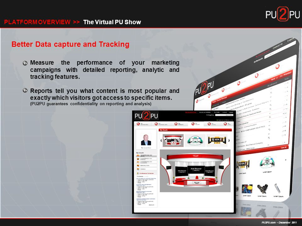 PU2PU.com – December 2011 Better Data capture and Tracking Measure the performance of your marketing campaigns with detailed reporting, analytic and tracking features.