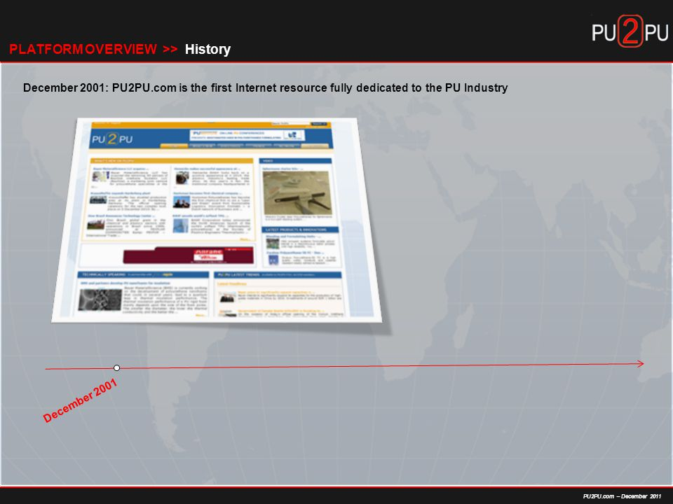 PU2PU.com – December 2011 HistoryPLATFORM OVERVIEW >> December 2001 December 2001: PU2PU.com is the first Internet resource fully dedicated to the PU Industry