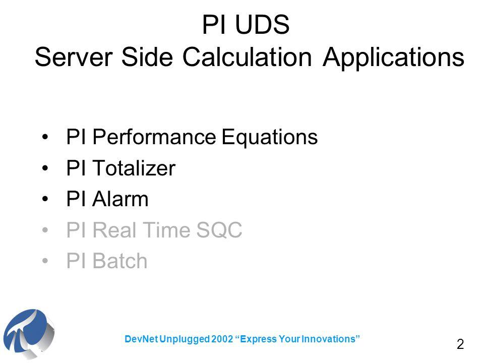 "2 DevNet Unplugged 2002 ""Express Your Innovations"" PI UDS Server Side Calculation Applications PI Performance Equations PI Totalizer PI Alarm PI Real"