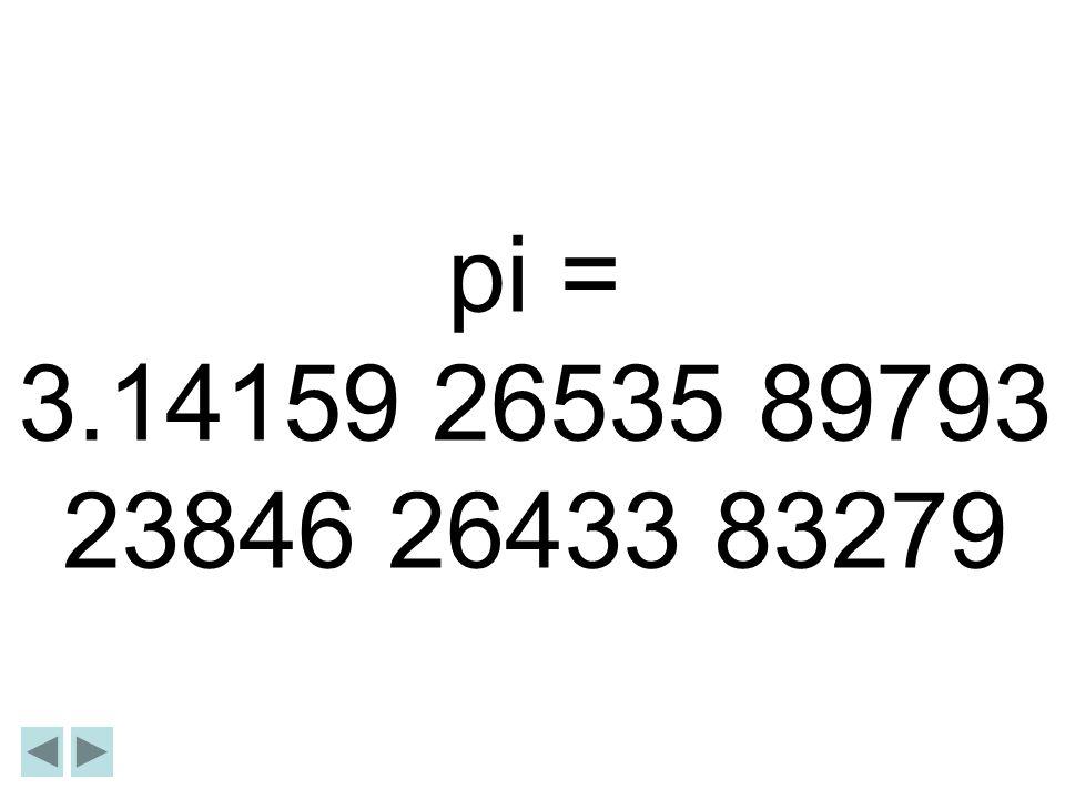 pi = 3.14159 26535 89793 23846 26433 83279