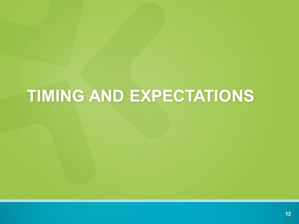 TIMING AND EXPECTATIONS 12