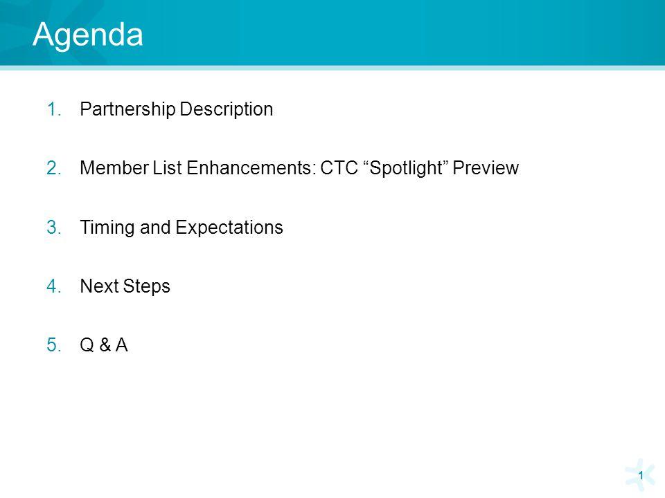 Agenda 1.Partnership Description 2.Member List Enhancements: CTC Spotlight Preview 3.Timing and Expectations 4.Next Steps 5.Q & A 1
