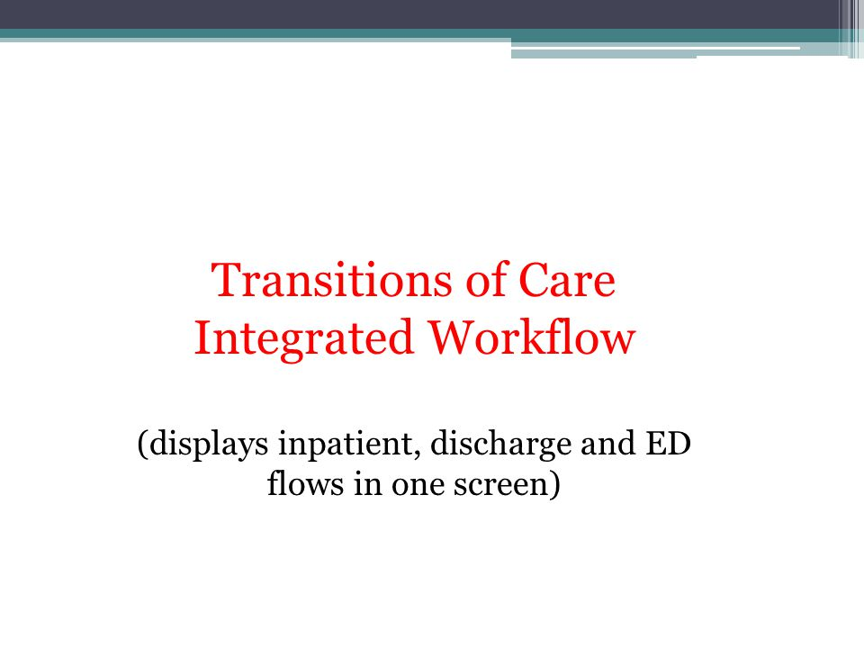 Transitions of Care Integrated Workflow (displays inpatient, discharge and ED flows in one screen)
