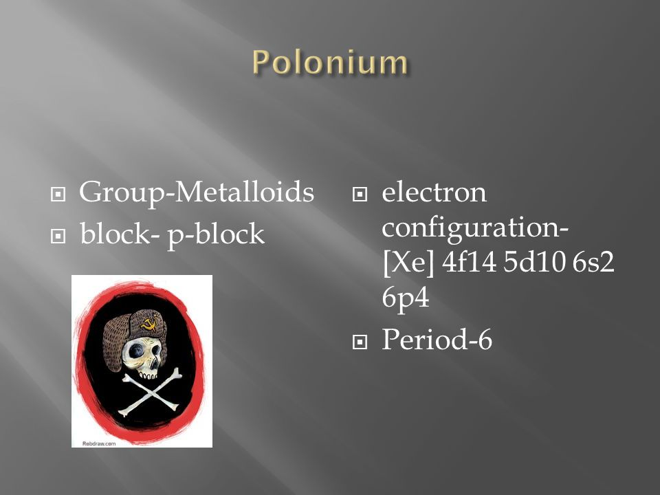 SYMBOL-PO ISOTOPES: 29  Atomic number- 84  Atomic weight- 209 Number of protons/electrons- 84 Number of neutrons- 125