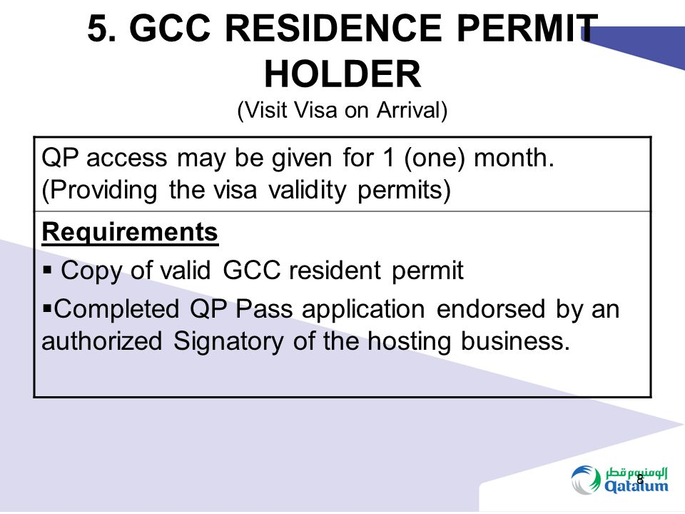 8 5. GCC RESIDENCE PERMIT HOLDER (Visit Visa on Arrival) QP access may be given for 1 (one) month. (Providing the visa validity permits) Requirements
