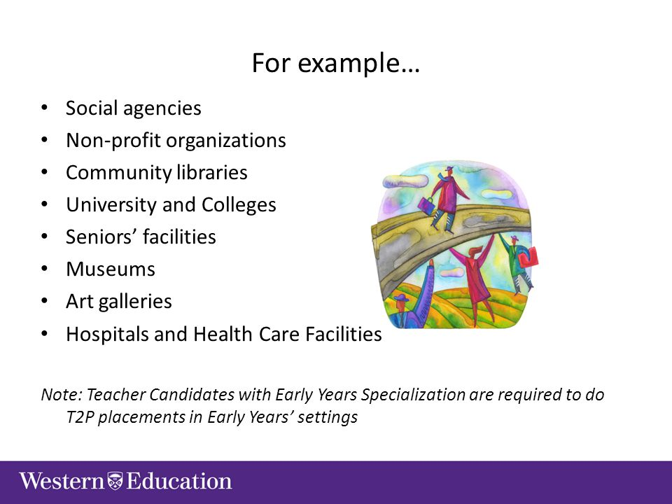 For example… Social agencies Non-profit organizations Community libraries University and Colleges Seniors' facilities Museums Art galleries Hospitals and Health Care Facilities Note: Teacher Candidates with Early Years Specialization are required to do T2P placements in Early Years' settings