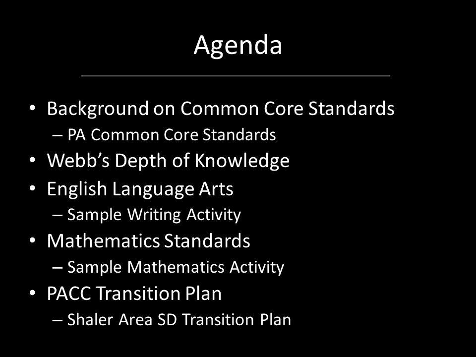 Agenda Background on Common Core Standards – PA Common Core Standards Webb's Depth of Knowledge English Language Arts – Sample Writing Activity Mathem