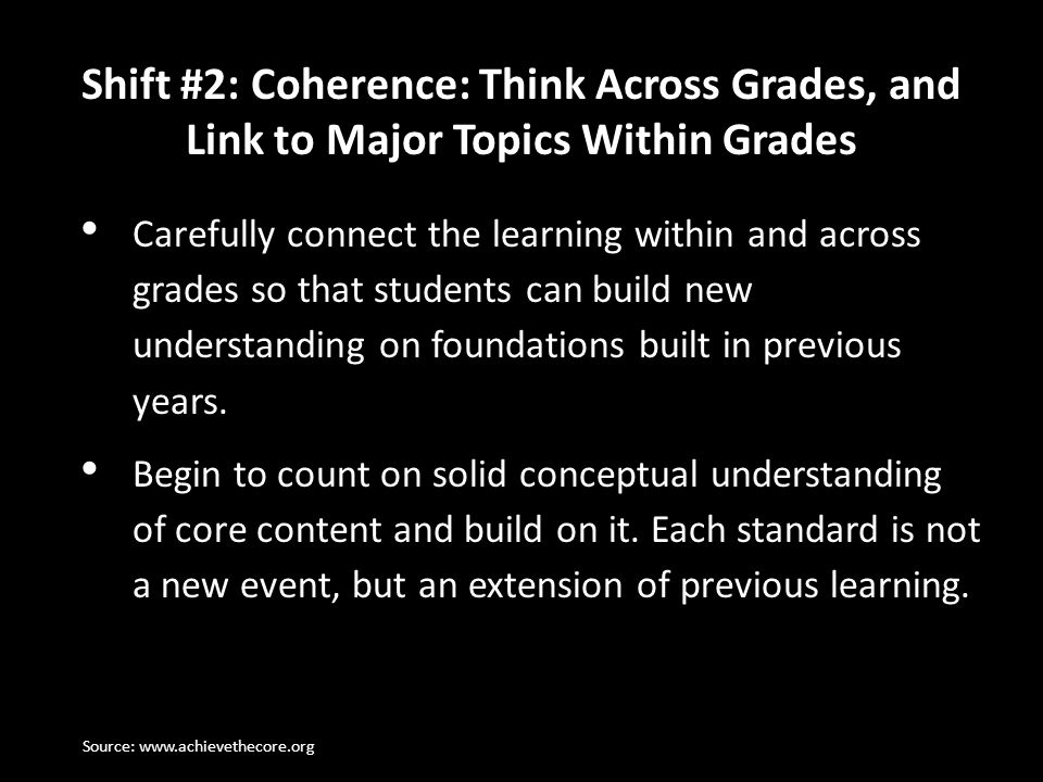 Shift #2: Coherence: Think Across Grades, and Link to Major Topics Within Grades Carefully connect the learning within and across grades so that stude