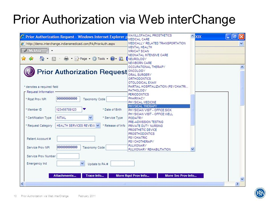 Prior Authorization via Web interChange February 201110 Prior Authorization via Web interChange