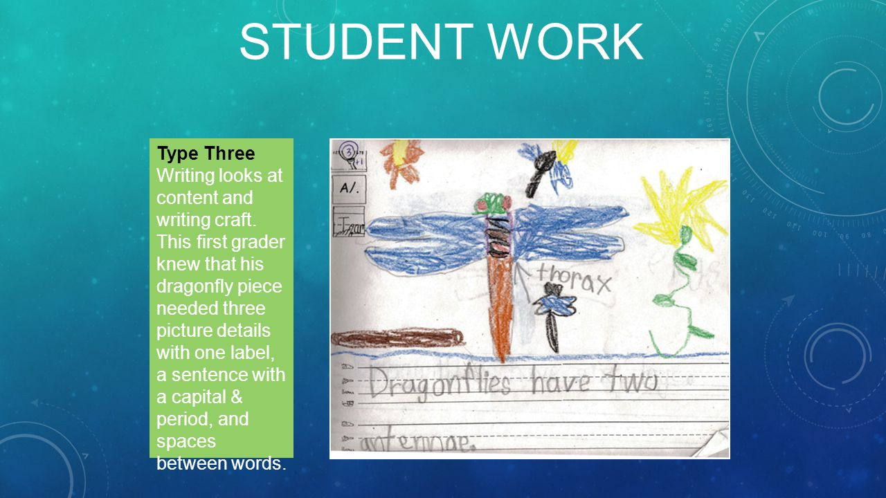 STUDENT WORK Type Three Writing looks at content and writing craft.