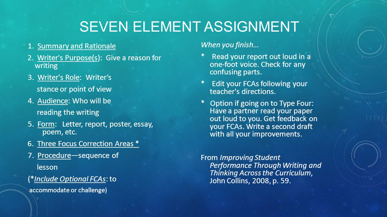 SEVEN ELEMENT ASSIGNMENT 1. Summary and Rationale 2. Writer's Purpose(s): Give a reason for writing 3. Writer's Role: Writer's stance or point of view