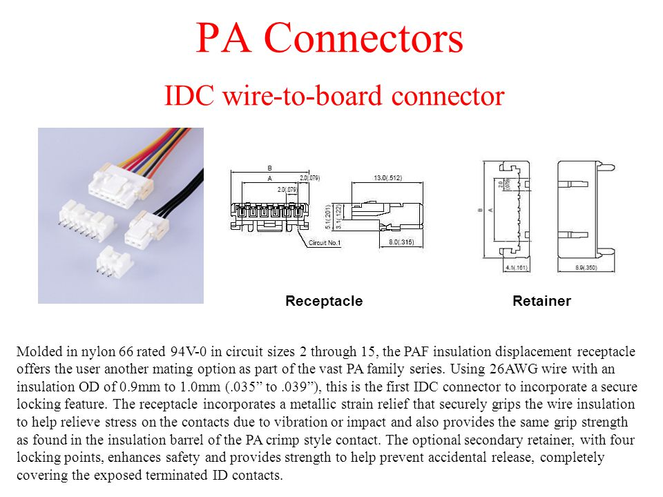 PA Connectors IDC wire-to-board connector Molded in nylon 66 rated 94V-0 in circuit sizes 2 through 15, the PAF insulation displacement receptacle off