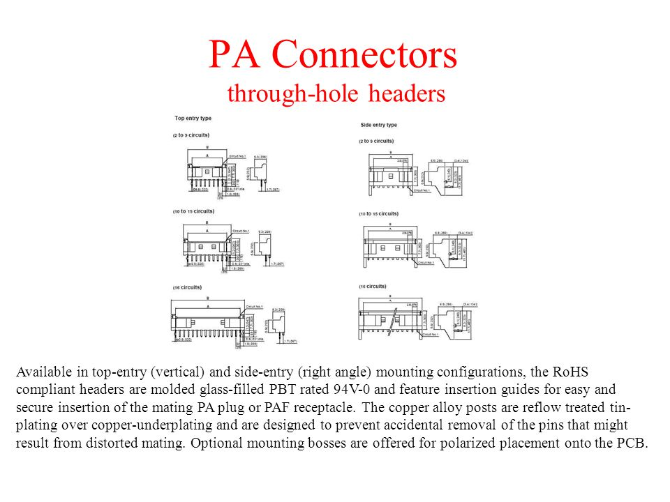PA Connectors through-hole headers Available in top-entry (vertical) and side-entry (right angle) mounting configurations, the RoHS compliant headers