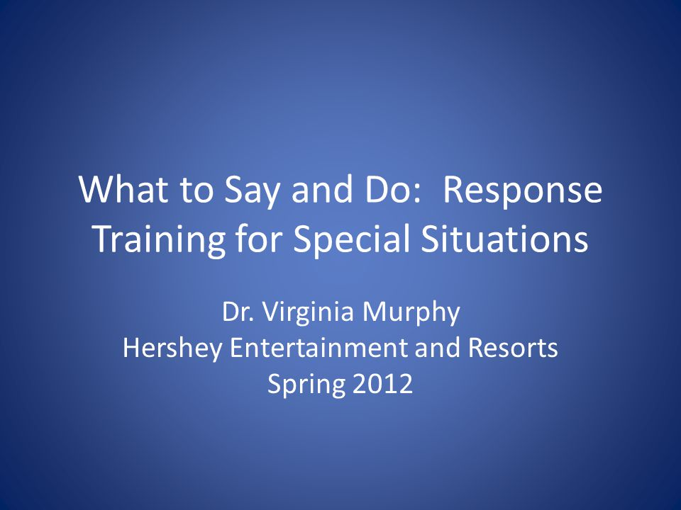 General Guidelines, cont'd Structuring: provide a safe environment; be predictable and consistent; set clear expectations and repeat them Listening: Identify feelings; be non-judgmental; use active listening techniques Directing: Redirect behaviors; make clear statements about what behaviors are and are not acceptable; use rewards and punishments; establish control and order Relating: Give personal attention and encourage any signs of de-escalation and regaining self control Teaching: Hold person responsible for his/her actions and choices; when possible, provide forced-choices to reinforce self-control (i.e., you can either go to X or you can rest here for a few more minutes. )