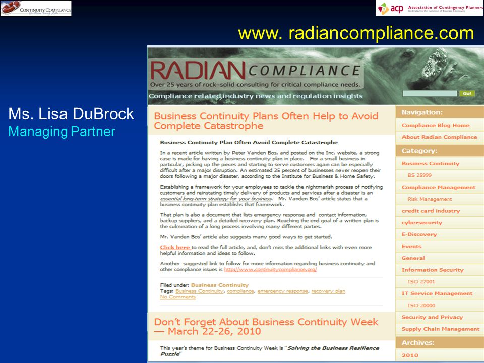 14 www. radiancompliance.com Ms. Lisa DuBrock Managing Partner