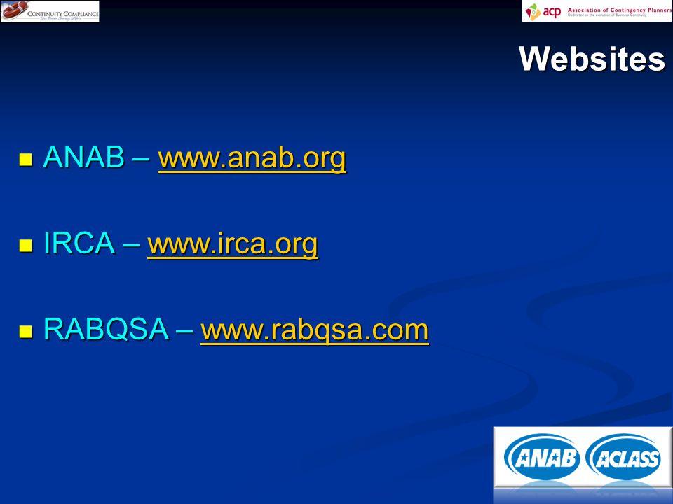 ANAB – www.anab.org ANAB – www.anab.orgwww.anab.org IRCA – www.irca.org IRCA – www.irca.orgwww.irca.org RABQSA – www.rabqsa.com RABQSA – www.rabqsa.comwww.rabqsa.com Websites