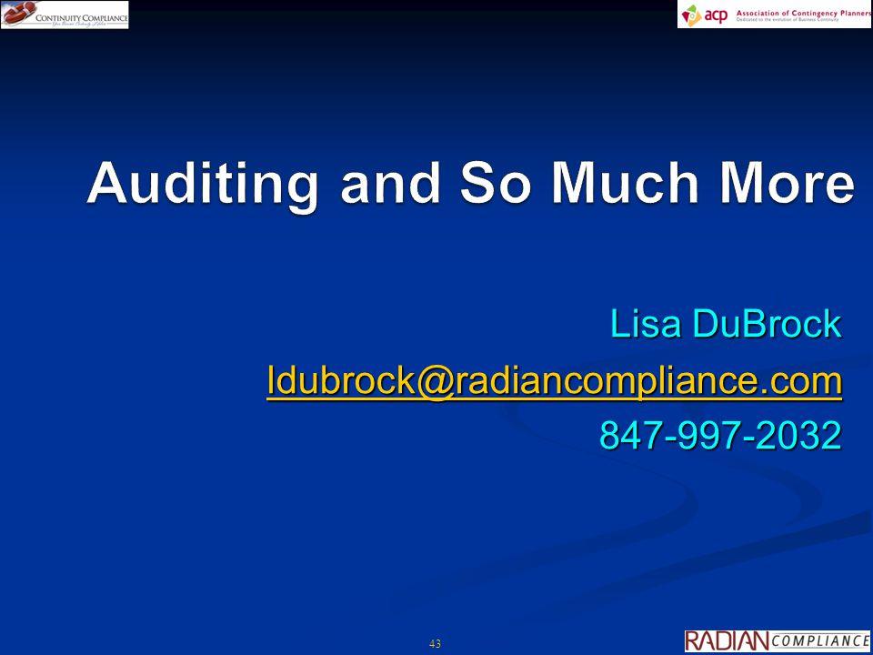 43 Lisa DuBrock ldubrock@radiancompliance.com 847-997-2032