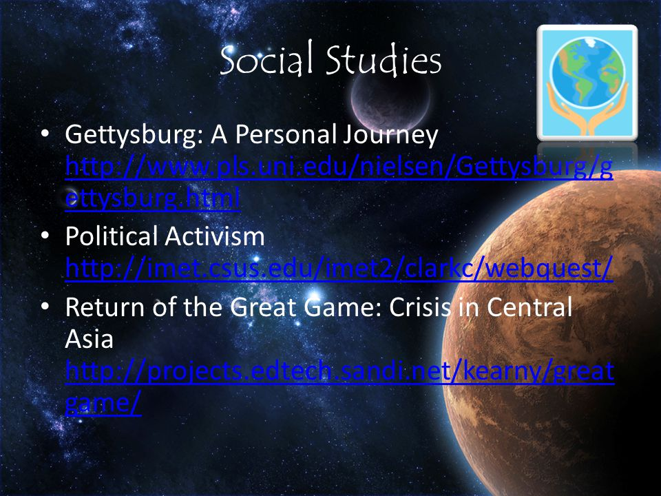 Social Studies Gettysburg: A Personal Journey   ettysburg.html   ettysburg.html Political Activism     Return of the Great Game: Crisis in Central Asia   game/   game/