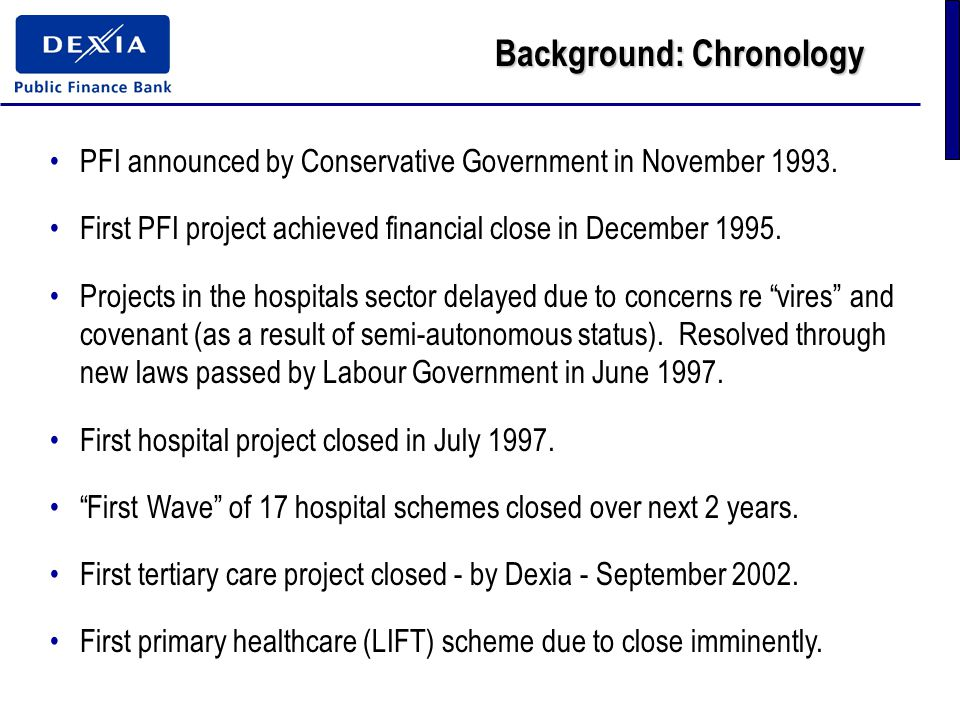Background: Chronology PFI announced by Conservative Government in November 1993.