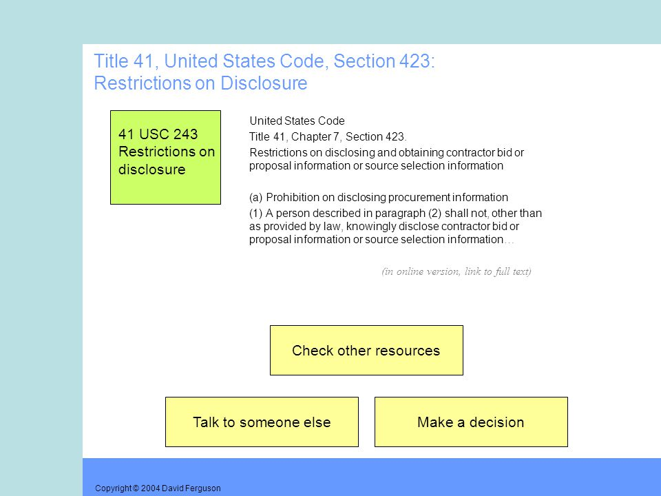 Copyright © 2004 David Ferguson Title 41, United States Code, Section 423: Restrictions on Disclosure United States Code Title 41, Chapter 7, Section 423.